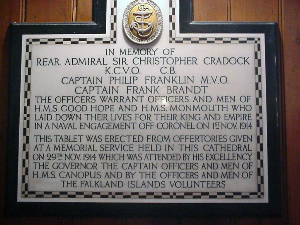 Memorial in Stanley Cathedral to the crews of HMS Good Hope and Monmouth:Battle of Coronel on1st November 1914 in the First World War
