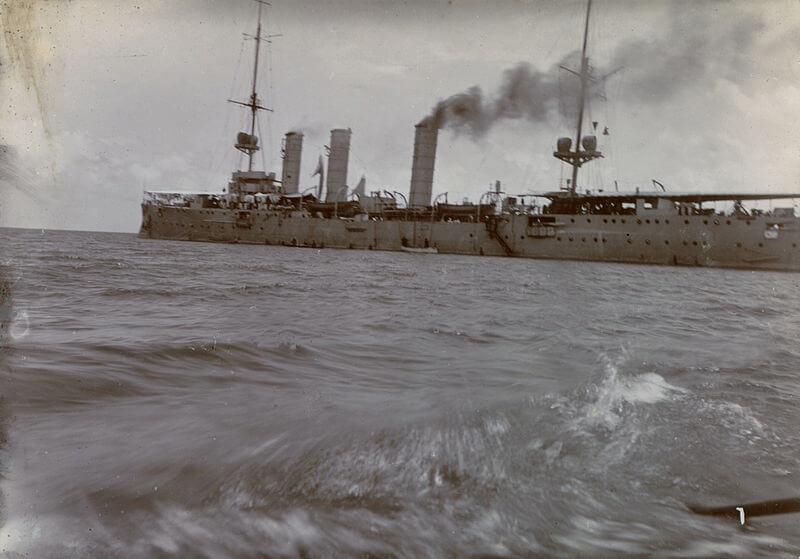 SMS Nürnberg, German light cruiser at the Battle of the Falkland Islands on 8th December 1914, at sea