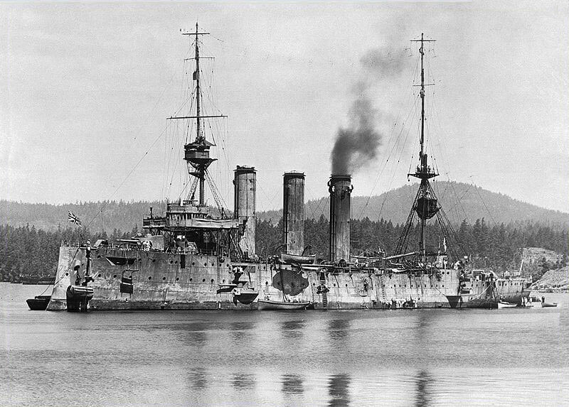 HMS Cornwall after the Battle of the Falkland Islands on 8th December 1914 in the First World War