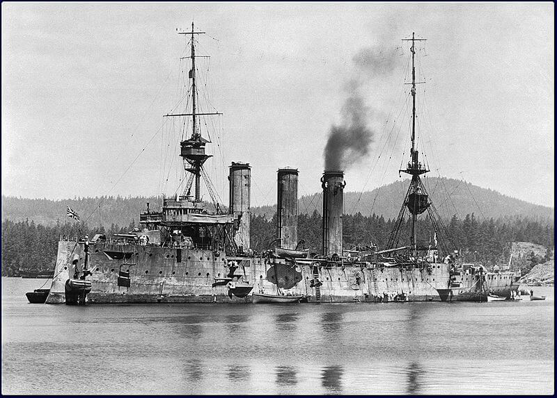 HMS Cornwall after the Battle of the Falkland Islands on 8th December 1914