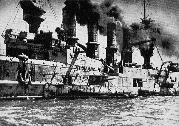 SMS Scharnhorst in Valparaiso after the Battle of Coronel on 1st November 1914 in the First World War