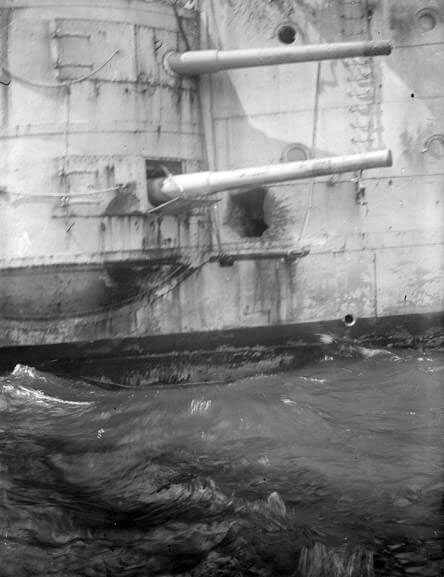 Damage to the hull of HMS Kent caused by shell-fire from SMS Nürnberg during the Battle of the Falkland Islands on 8th December 1914 in the First World War