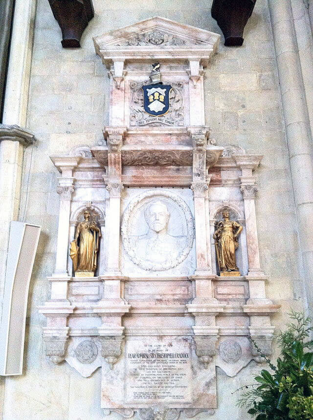 The memorial to Rear Admiral Sir Christopher Cradock in York Minster:Battle of Coronel on1st November 1914 in the First World War