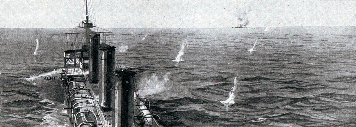 HMS Kent engaging SMS Nürnberg during the Battle of the Falkland Islands on 8th December 1914 in the First World War