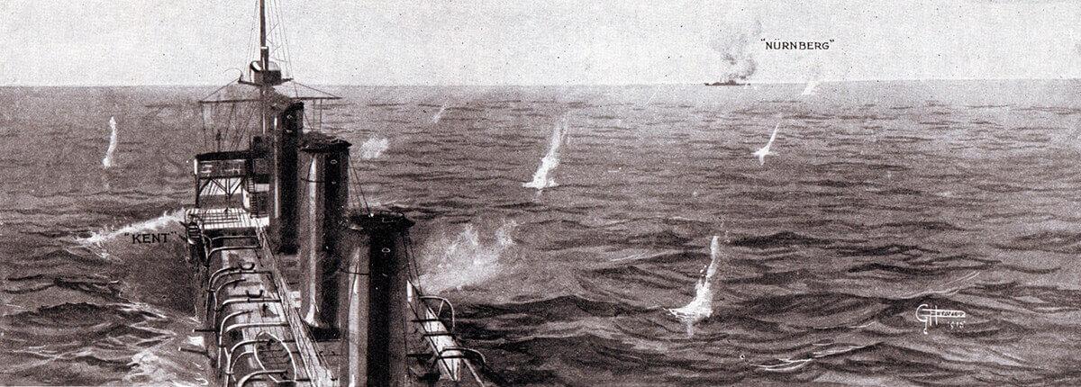 HMS Kent engaging SMS Nürnberg during the Battle of the Falkland Islands on 8th December 1914