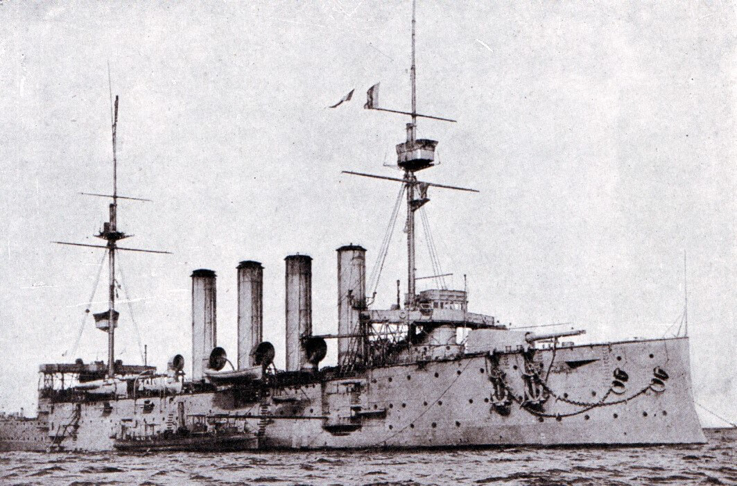 HMS Aboukir, one of the British Armoured Cruisers that took part in the Heligoland Bight operation on 28th August 1914. Aboukir, Cressy and Hogue were all sunk by the German submarine U9 on 22nd September 1914.