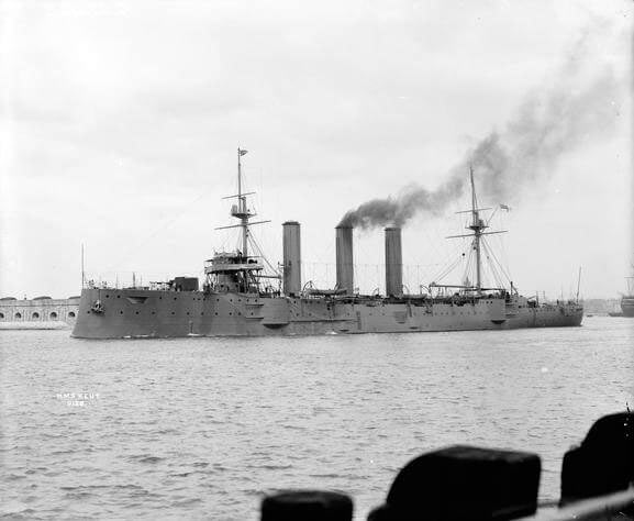 HMS Kent, British light cruiser at the Battle of the Falkland Islands on 8th December 1914 in the First World War