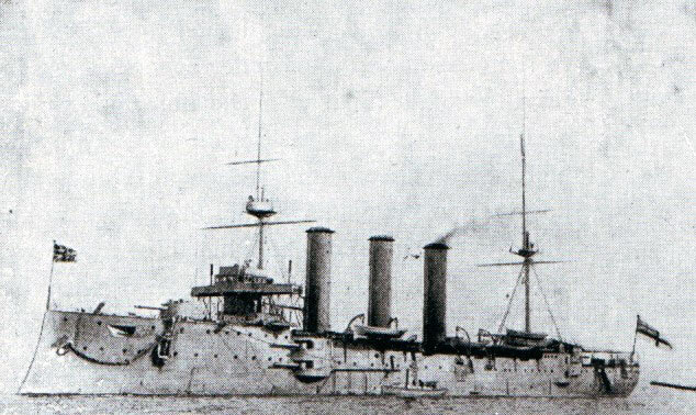 Rear Admiral Sir Christopher Cradock's second armoured cruiser HMS Monmouth:Battle of Coronel on1st November 1914 in the First World War