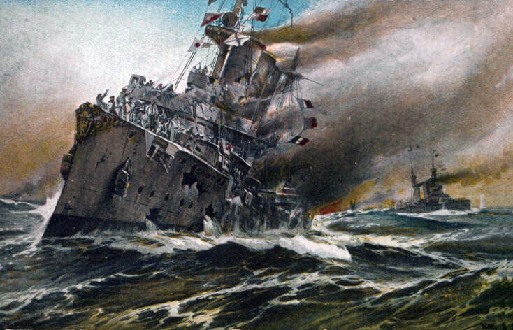 SMS Nürnberg sinking at the end of the Battle of the Falkland Islands on 8th December 1914 in the First World War
