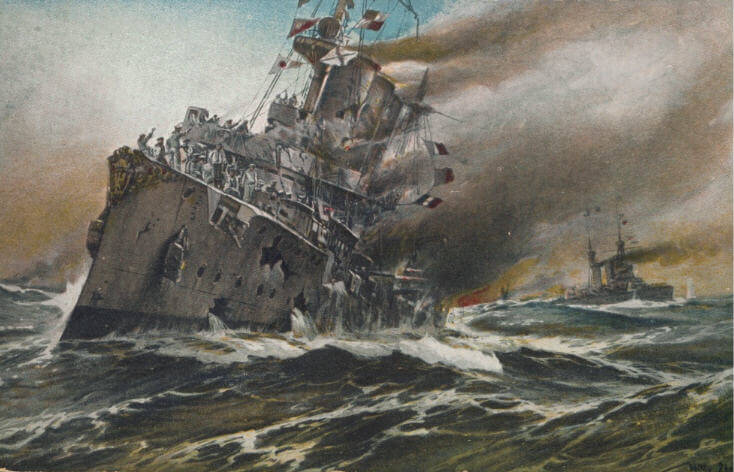 SMS Nürnberg sinking at the end of the Battle of the Falkland Islands on 8th December 1914