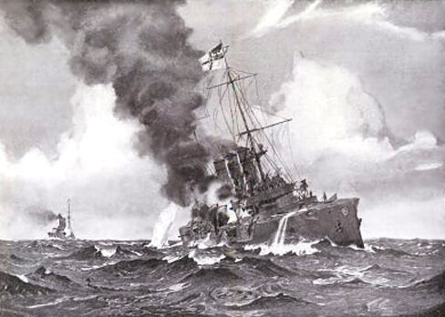 SMS Dresden, German light cruiser at the Battle of the Falkland Islands on 8th December 1914, at sea