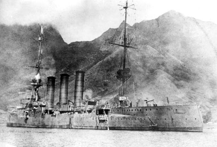 SMS Dresden, German light cruiser at the Battle of the Falkland Islands on 8th December 1914, immediately before the scuttling charges were exploded, sinking her on 14th March 1914 in the First World War