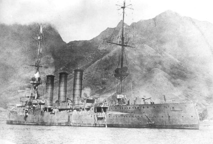 SMS Dresden, German light cruiser at the Battle of the Falkland Islands on 8th December 1914, immediately before the scuttling charges were exploded, sinking her on 14th March 1914