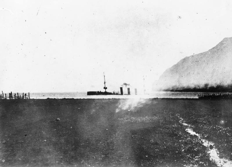SMS Dresden, German light cruiser at the Battle of the Falkland Islands on 8th December 1914, sinking on 14th March 1915