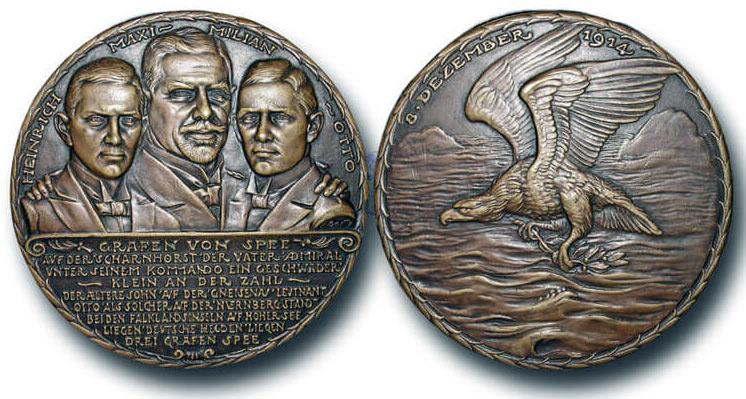 Medal struck in Germany commemorating the deaths of the three Grafen von Spee at the Battle of the Falkland Islands on 8th December 1914 in the First World War