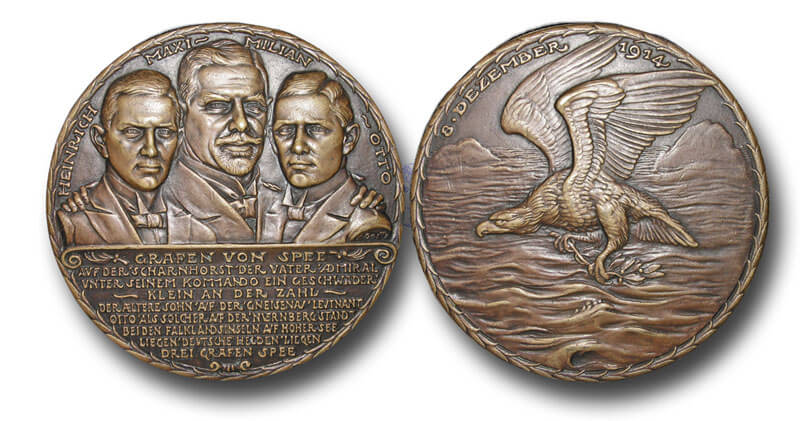Medal struck in Germany commemorating the deaths of the three Grafen von Spee at the Battle of the Falkland Islands on 8th December 1914