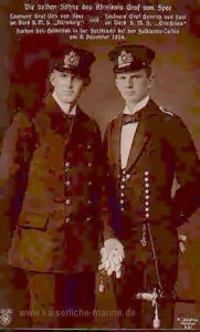 Leutnant Graf Otto von Spee of SMS Nürnberg and Leutnant Graf Heinrich von Spee of SMS Gneisenau, sons of Admiral Graf von Spee, both lost in the Battle of the Falkland Islands on 8th December 1914. To buy this picture click here