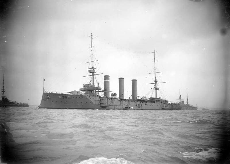 HMS Cornwall, British light cruiser at the Battle of the Falkland Islands on 8th December 1914 in the First World War