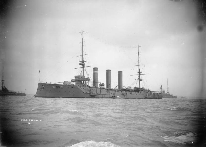 HMS Cornwall, British light cruiser at the Battle of the Falkland Islands on 8th December 1914