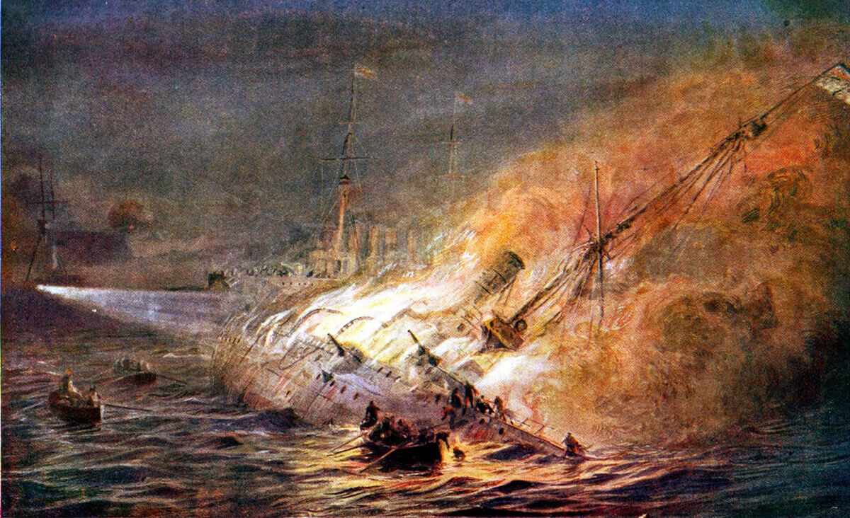 SMS Leipzig sinking at the end of the Battle of the Falkland Islands on 8th December 1914: picture by Lionel Wyllie. To buy this picture click here
