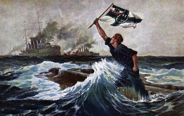 German postcard showing the 'last man' about to go down on the upturned hull of SMS Nürnberg, sunk in the Battle of the Falkland Islands on 8th December 1914 in the First World War