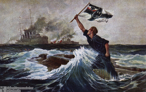 German postcard showing the 'last man' about to go down on the upturned hull of SMS Nürnberg sunk in the Battle of the Falkland Islands on 8th December 1914