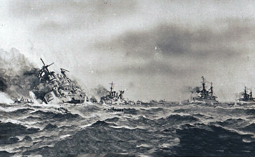 British postcard of the Battle of the Falklands fought on on 8th December 1914 in the First World War