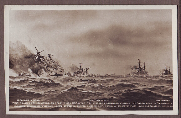 British postcard of the Battle of the Falklands