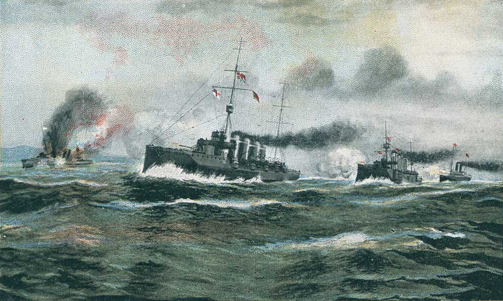 British postcard showing the sinking of SMS Dresden on 15th March 1915 at Mas-a-fuera off Chile in the First World War: in fact the Dresden was scuttled by her crew