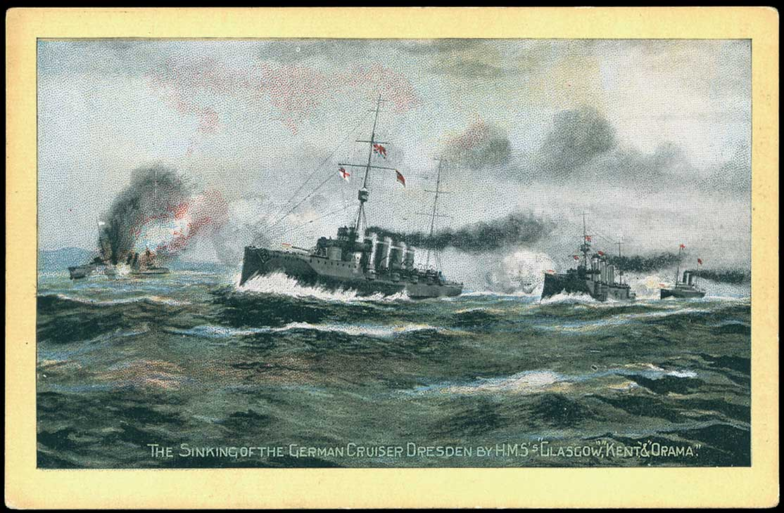 British postcard showing the sinking of SMS Dresden on 15th March 1915 at Mas-a-fuera off Chile