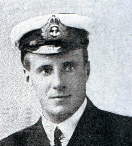 Lieutenant Commander Dannreuther first lieutenant and gunnery officer on HMS Invincible at the Battle of the Falkland Islands on 8th December 1914. Dannreuther was one of the six survivors when Invincible was sunk at Jutland on 31st May 1916 in the First World War