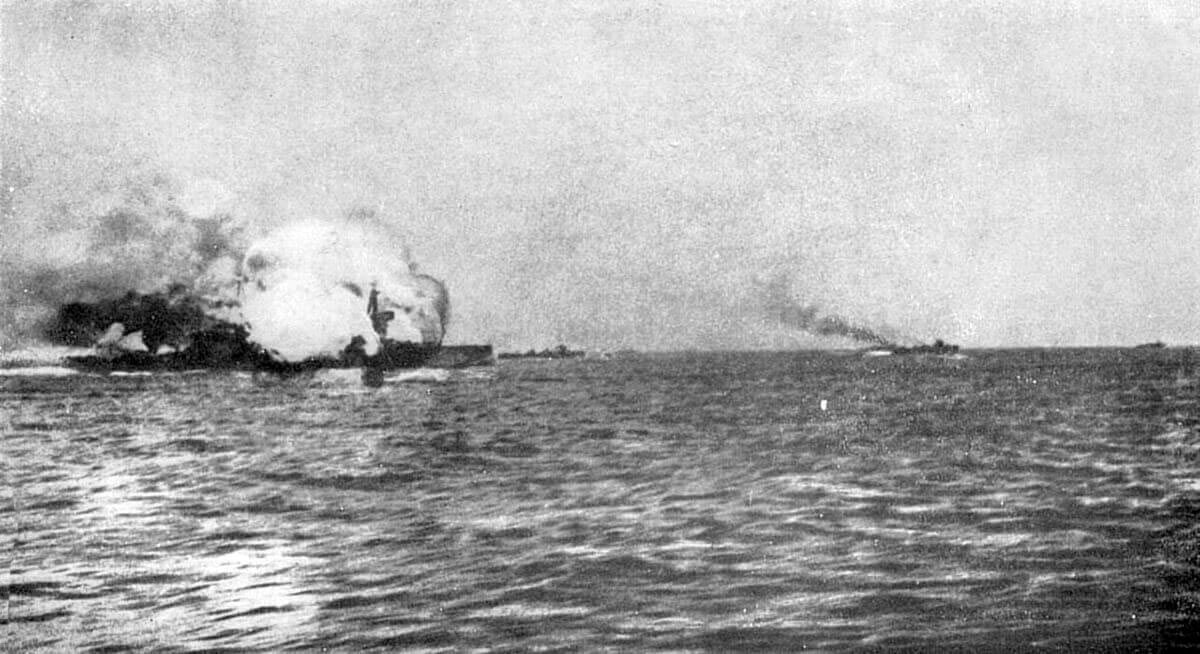 HMS Invincible exploding at the Battle of Jutland on 31st May 1916 in the First World War. Only 6 of the crew survived, including Lieutenant Commander Dannreuther