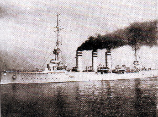 SMS Mainz, the German light cruiser sunk during the Heligoland Bight operation on 28th August 1914.