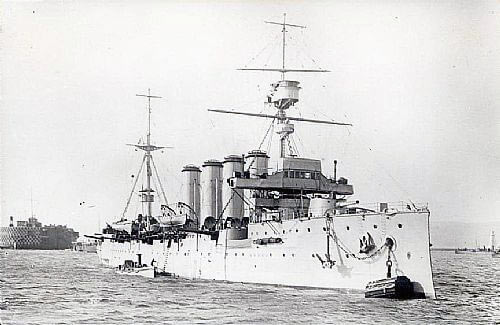 HMS Carnarvon, British light cruiser at the Battle of the Falkland Islands on 8th December 1914 in the First World War
