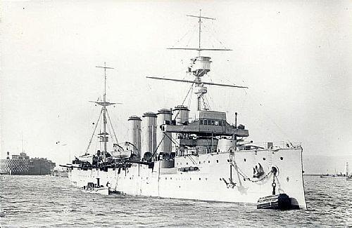 HMS Carnarvon, British light cruiser at the Battle of the Falkland Islands on 8th December 1914