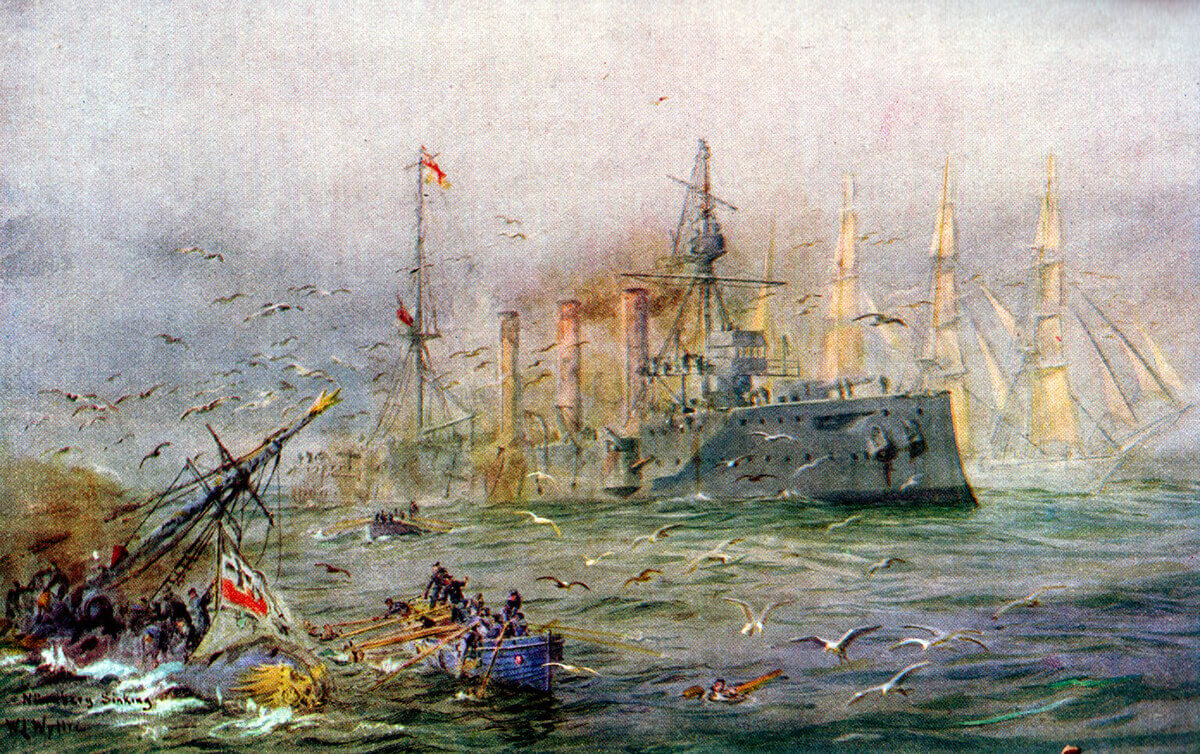 A sailing ship passes the battle between HMS Kent and SMS Nürnberg sinking in the left foreground at the end of the Battle of the Falkland Islands on 8th December 1914: picture by Lionel Wyllie. To buy this picture click here