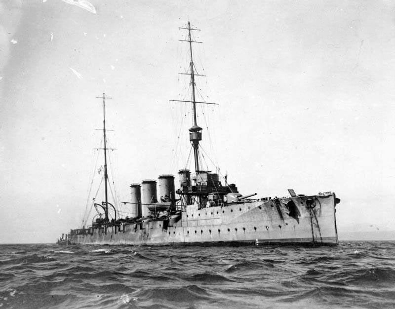 HMS Glasgow, British light cruiser at the Battle of the Falkland Islands on 8th December 1914 in the First World War
