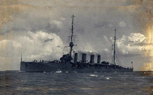 HMS Bristol, British light cruiser at the Battle of the Falkland Islands on 8th December 1914 in the First World War