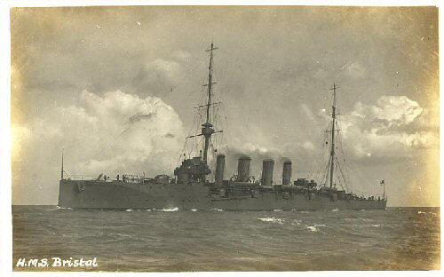 HMS Bristol, British light cruiser at the Battle of the Falkland Islands on 8th December 1914