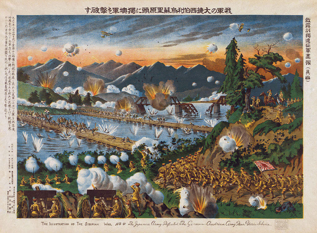 Japanese lithograph of the attack on Tsing Tao in 1914: Battle of Coronel on 1st November 1914 in the First World War