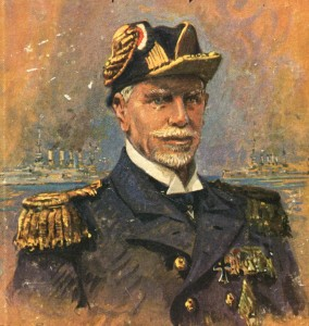 Admiral Graf von Spee commander of the German East Asiatic Squadron at the Battle of Coronel 1st November 1914 by Claus Bergen