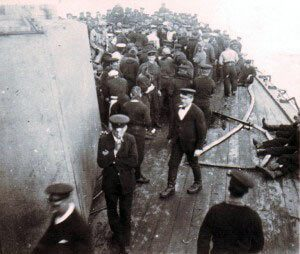 Crew of HMS Kent on deck before the Battle of the Falkland Islands on 8th December 1914 in the First World War