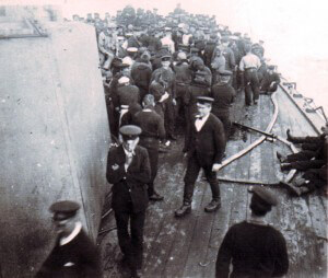 Crew of HMS Kent on deck before the Battle of the Falkland Islands on 8th December 1914