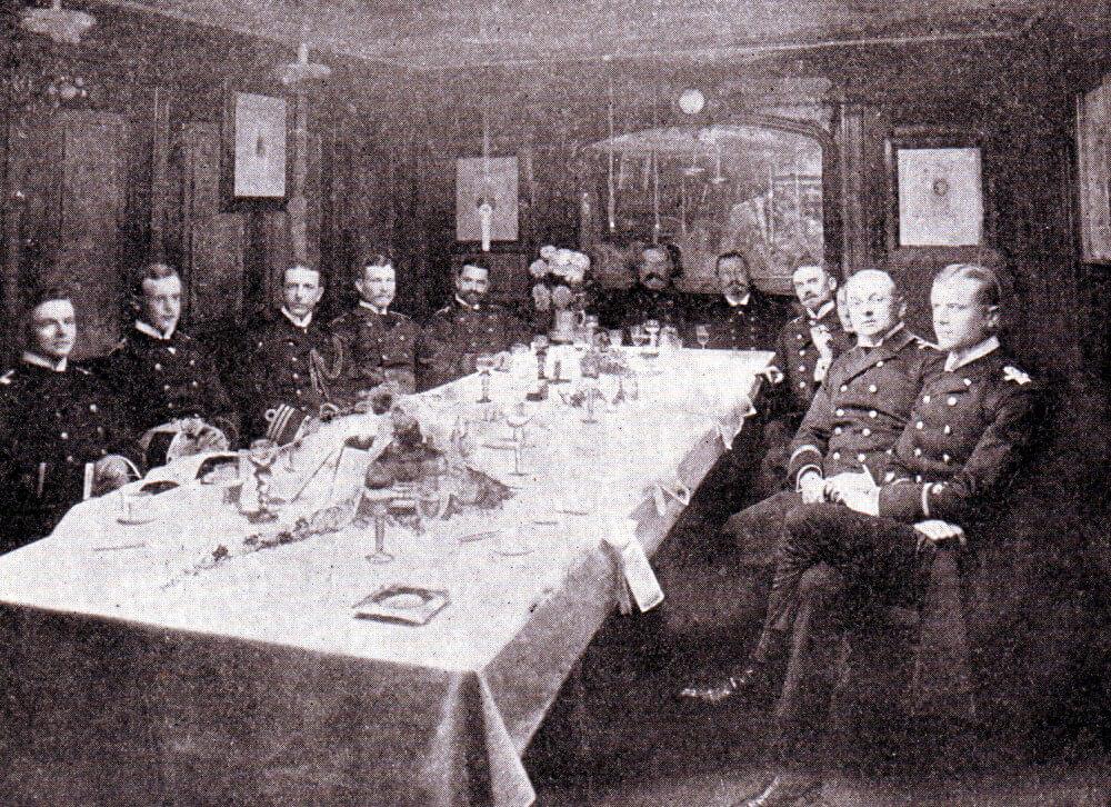 German naval officers at dinner in the wardroom