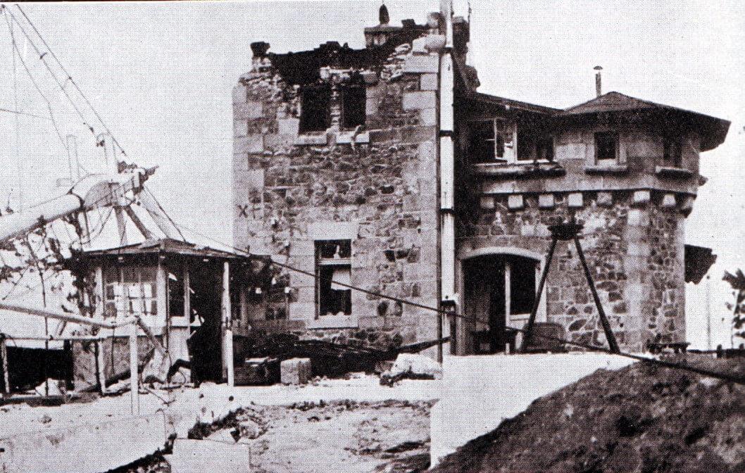 The German radio station at Tsing Tao damaged by Japanese naval gunfire