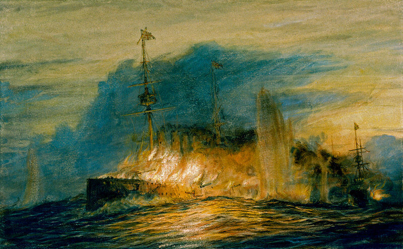 HMS Good Hope on fire towards the end of the Battle of Coronel, 1st November 1914
