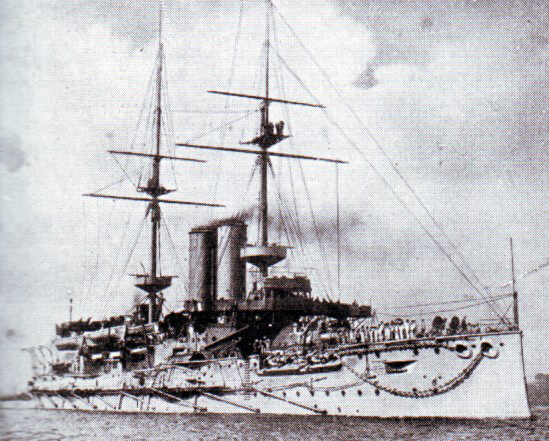 Rear Admiral Sir Christopher Cradock's aged battleship HMS Canopus, which was not in action at the Battle of Coronel