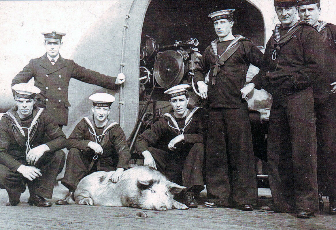 Crew of HMS Glasgow with Tirpitz the pig in the First World War