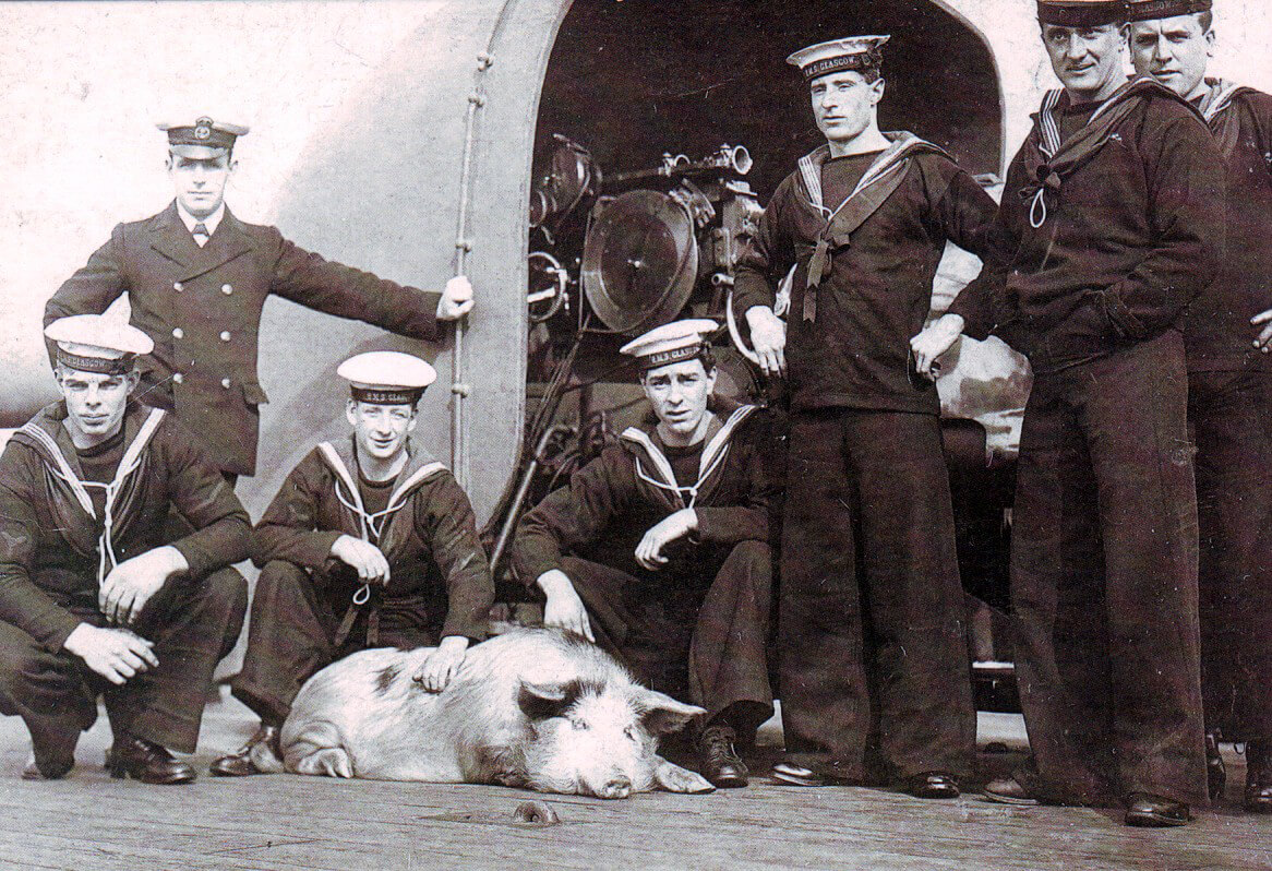 Crew of HMS Glasgow with Tirpitz the pig