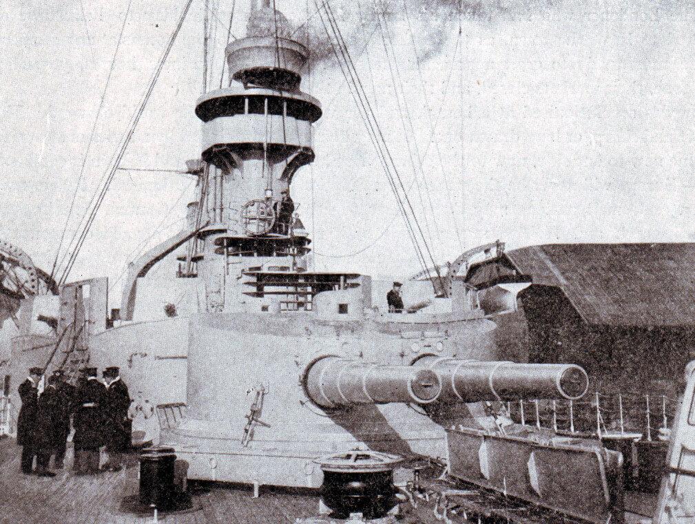 Main forward gun turret on SMS Scharnhorst mounting two 8.2 inch guns